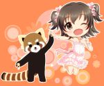 1girl ;d akagi_miria black_hair blush brown_eyes dress furaipan_(totte) idolmaster idolmaster_cinderella_girls one_eye_closed open_mouth red_panda short_hair smile twintails