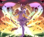1girl backlighting bangs blonde_hair boots bow breasts closed_mouth cure_sunshine debris detached_sleeves frilled_sleeves frills glowing hair_between_eyes hair_ribbon harihisa heart heartcatch_precure! high_heel_boots high_heels light_frown long_hair magical_girl midriff myoudouin_itsuki outstretched_arms precure puffy_short_sleeves puffy_sleeves ribbon short_sleeves skirt solo standing super_silhouette_(heartcatch_precure!) twintails under_boob very_long_hair white_bow yellow_bow yellow_eyes