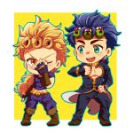 blonde_hair blue_hair boots brown_boots chibi cosplay costume_switch earrings fingerless_gloves giorno_giovanna giorno_giovanna_(cosplay) gloves green_eyes hair_ornament hairclip jewelry jojo_no_kimyou_na_bouken jojo_pose jonathan_joestar jonathan_joestar_(cosplay) koma_saburou ladybug long_hair open_mouth outline pose round_teeth smile teeth yellow_eyes