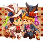 animal_ears animal_hat baggy_shorts basket blonde_hair blue_hair boots brown_boots chibi dio_brando easter_egg fake_animal_ears flower green_eyes hand_in_pocket hat hat_flower holding_hands jacket jojo_no_kimyou_na_bouken jonathan_joestar koma_saburou neck_ribbon open_mouth orange_eyes outline polka_dot polka_dot_background rabbit_ears ribbon rose shorts suspenders sweatdrop top_hat