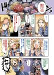 1girl 3boys armor bibi blonde_hair blush braid comic dungeon_meshi elf facial_hair helmet laios_(dungeon_meshi) long_hair marushiru multiple_boys mushroom pointy_ears senshi_(dungeon_meshi) short_hair tirchac_(dungeon_meshi) translation_request twin_braids