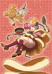 1girl :3 :d bloomers bottle bow brown_shoes cape earrings flipping_food food_themed_clothes food_themed_hair_ornament frying_pan full_body hair_ornament highres honey jewelry kneehighs looking_at_viewer mixing_bowl morinaga_(brand) open_mouth original pancake personification pink_hair plaid plaid_background purple_legwear red_background red_eyes shirt shoes short_hair side_ponytail smile solo spatula striped striped_bow striped_shirt underwear whisk yuasa_tsugumi