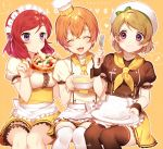 ! 3girls :3 :t ^_^ alternate_costume apron bangs beret blonde_hair blush bow breasts brown_legwear cheese chef_hat chef_uniform closed_eyes closed_mouth copyright_name double-breasted eating eyebrows eyebrows_visible_through_hair eyelashes food fork frilled_apron frilled_skirt frilled_sleeves frills green_bow hair_between_eyes happy hat hat_bow hat_ribbon heart holding holding_food holding_fork hoshizora_rin ichinose_yukino koizumi_hanayo leg_garter looking_at_another love_live!_school_idol_project maid_headdress mini_hat miniskirt mouth_hold multiple_girls musical_note neckerchief nishikino_maki open_mouth orange_hair outline pizza plate porridge puffy_short_sleeves puffy_sleeves quaver redhead ribbon rice short_hair short_sleeves simple_background sitting skirt smile spoken_heart spoken_musical_note swept_bangs toque_blanche turtleneck twitter_username uniform violet_eyes waist_apron white_apron white_bow white_hat white_legwear wrist_cuffs yellow_background yellow_bow yellow_skirt