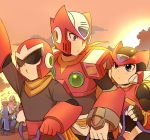 android arm_up armor blonde_hair blue_eyes blues_(rockman) character_request clouds helmet jiayu_long musical_note quaver ribbon rockman rockman_(character) rockman_(classic) rockman_x rockman_zx scarf sunset sweatdrop tree visor x_(rockman) zero_(rockman)