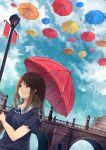 1girl akira_(mr_akira) brown_hair long_hair original parasol rain sky smile solo umbrella