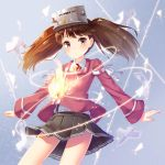 1girl brown_hair fire japanese_clothes kantai_collection kariginu magatama motion_lines outstretched_arms pensuke pleated_skirt ryuujou_(kantai_collection) shikigami skirt solo spread_arms twintails visor_cap yellow_eyes