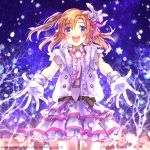 1girl :d belt blue_eyes gloves half_updo kousaka_honoka long_hair love_live!_school_idol_project momoko_(momoko14) open_eyes open_mouth orange_hair outstretched_arms side_ponytail smile snow_halation snowflakes solo vest