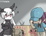 3girls ? anchorage_oni box cannon cardboard_box commentary dated delivery disguise hagikaze_(kantai_collection) hamu_koutarou hat hat_over_one_eye hiding holding holding_hat in_box in_container ise_(kantai_collection) kantai_collection lobster long_hair multiple_girls neck_ribbon purple_hair red_eyes ribbon shinkaisei-kan side_ponytail simple_background smirk stamp white_hair