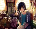 1girl androgynous artist_name black_hair black_jacket blue_eyes blue_shirt blurry blush book book_stack bookshelf bow capsule chair clock closed_mouth collarbone curtains day depth_of_field desk dust english gears hair_between_eyes hair_ornament hairclip heart indoors isumi_(yangyan) jacket long_sleeves looking_at_viewer messy_room note o_o original painting_(object) paper pink_bow plant potted_plant scroll shelf shirt short_hair signature sitting smile solo stuffed_animal stuffed_bunny stuffed_toy sunlight t-shirt table teddy_bear text upper_body vase window