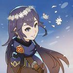1girl armor blue_eyes blue_hair cape fire_emblem fire_emblem:_kakusei highres long_hair lucina smile solo splashbrush tiara