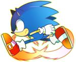 1boy animal_ears frown gloves green_eyes kashiri_kurosuke no_humans running shoes solo sonic sonic_the_hedgehog white_gloves