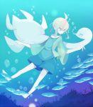 air_bubble androgynous barefoot fish gradient green_eyes green_hair kashiri_kurosuke monster original seaweed shorts underwater white_skin wide_sleeves