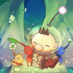 1boy brown_hair flower gloves glowing helmet kashiri_kurosuke leaf male_focus olimar pikmin pikmin_(creature) pointy_ears sitting spacesuit