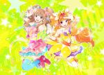 2girls :3 \m/ amanogawa_kirara asymmetrical_gloves bare_shoulders brown_eyes brown_hair cure_twinkle gloves go!_princess_precure hair_ribbon hairband holding_hands idolmaster idolmaster_cinderella_girls jumping kintaro long_hair looking_at_viewer moroboshi_kirari multiple_girls namesake necktie open_mouth orange_hair precure ribbon scrunchie star thigh-highs twintails two_side_up violet_eyes