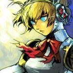 1girl aegis aegis_(persona) blonde_hair blue_eyes glowing glowing_eye hankuri persona persona_3 robot_joints solo