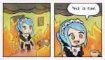 1girl apron blue_hair chair cup english fire fire_emblem fire_emblem_if flora_(fire_emblem_if) grey_eyes gunshow_(comic) long_hair maid maid_apron maid_headdress open_mouth parody ponytail smile smoke solo speech_bubble splashbrush spoilers table teacup teapot this_is_fine twintails