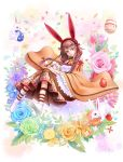 1girl absurdres animal_ears blue_rose boots bow braid brown_hair dress easter_egg egg flower green_rose hair_bow highres leaf long_hair looking_at_viewer mr._j.w open_mouth original paintbrush painting rabbit rabbit_ears red_bow red_eyes rose solo twin_braids white_boots wide_sleeves yellow_eyes