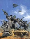 aircraft armored_vehicle assault_rifle canards cannon desert dust earth_federation flying gatling_gun gm_(mobile_suit) gun guncannon gundam hovercraft machine_gun mecha military military_vehicle mobile_suit_gundam official_art promotional_art realistic rifle scan science_fiction shield takani_yoshiyuki tank traditional_media vehicle weapon