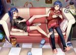 1boy 1girl animal_slippers bag bangs bare_shoulders barefoot blue_hair bunny_slippers cable cd checkered checkered_floor clock closed_mouth controller couch drawstring food from_above frown game_console globe grandfather_clock hair_ornament highres holding hood hood_down hoodie indoors lamp leaning_back limobok long_hair long_sleeves looking_at_viewer off_shoulder original pants photo_(object) pink_shorts plate playing_games ponytail ribbon set_square shadow shirt short_sleeves sitting slippers_removed smile speaker squiggle sweatdrop swept_bangs t-shirt wall yellow_eyes