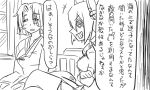 2girls comic crossed_arms crossed_legs eyepatch greyscale grin hair_intakes headgear hospital_gown kantai_collection mole mole_under_eye monochrome multiple_girls revision short_hair smile tatsuta_(kantai_collection) tenryuu_(kantai_collection) tonda translated