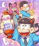 !? 1girl 2boys ?? animal_ears black_hair blazer bokusatsu_tenshi_dokuro-chan brothers cat_ears demon_horns demon_tail formal hashimoto_nyaa hono1212 horns jacket matsuno_choromatsu matsuno_osomatsu multicolored_hair multiple_boys osomatsu-kun osomatsu-san parody pink_hair red_eyes sausage siblings streaked_hair suit tail tearing_up wince