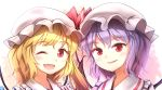 2girls ;d bat_wings blonde_hair collar demon_wings eyelashes flandre_scarlet frilled_collar frills gradient_hair hat hat_ribbon light_smile minust mob_cap multicolored_hair multiple_girls one_eye_closed open_mouth orange_hair parted_lips purple_hair red_eyes red_ribbon remilia_scarlet ribbon siblings side_ponytail sisters slit_pupils smile tareme touhou upper_body white_hat wings