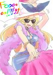 1girl alternate_costume blonde_hair blush_stickers bow bracelet breasts cleavage contemporary cowboy_shot dancing dress fan feather_boa folding_fan hat hat_bow highres jewelry long_hair mana_(gooney) nail_polish open-back_dress open_mouth sketch sleeveless solo sunglasses touhou watatsuki_no_toyohime white_background