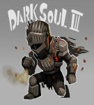 armor artist_request chibi commentary_request copyright_name dark_souls_iii full_armor grey_background one_knee solo soul_of_cinder souls_(from_software)