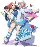! 2girls ;d back-to-back badge bandaid bandaid_on_nose bare_shoulders barefoot black_hair braid brown_eyes clothes_around_waist gym_leader highres locked_arms long_hair multiple_girls one_eye_closed open_mouth poke_ball pokemon pokemon_(game) pokemon_dppt redhead short_hair skirt smile socks star striped striped_legwear sumomo_(pokemon) suzuna_(pokemon) sweatdrop sweater_around_waist tm_(hanamakisan) twin_braids violet_eyes