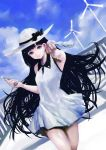 1girl black_hair blue_eyes blue_sky clouds dress hat highres long_hair looking_at_viewer original sky smile solo sun_hat toka_(marchlizard) white_dress wind_turbine windmill