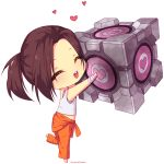 1girl :d ^_^ ^o^ arms_up artist_name bandaged_arm bandages bare_shoulders barefoot blush brown_hair chell closed_eyes clothes_around_waist commentary full_body head_tilt heart heart_print holding hyanna-natsu leg_up open_mouth orange_pants ponytail portal portal_2 round_teeth shirt short_hair simple_background sleeveless smile solo standing_on_one_leg tank_top teeth transparent_background weighted_companion_cube white_shirt