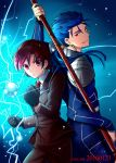 1boy 1girl 2016 armor bazett_fraga_mcremitz black_gloves blue_background blue_hair bodysuit clenched_hand cowboy_shot dated earrings fate/hollow_ataraxia fate_(series) formal fragarach gae_bolg gloves grin jewelry lancer long_hair looking_at_viewer necktie niu_illuminator orb pant_suit ponytail red_eyes red_necktie redhead serious short_hair shoulder_armor smile suit twitter_username