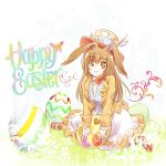 1girl animal_ears brown_eyes brown_hair bunny_tail butterfly easter easter_egg english hat highres iesupa rabbit_ears rwby skirt smile solo tail velvet_scarlatina