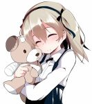 1girl bandages closed_eyes doll_hug girls_und_panzer hair_ribbon long_sleeves ribbon shimada_arisu shirt silver_hair smile solo stuffed_animal stuffed_toy teddy_bear tera_zip twintails upper_body