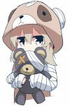 1girl animal_costume bandaged_arm bandages bear_costume doll_hug girls_und_panzer hair_ribbon jitome looking_at_viewer ribbon shimada_arisu silver_hair solo stuffed_animal stuffed_toy teddy_bear tera_zip twintails