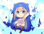 1girl arm_up black_legwear blonde_hair blue_eyes breasts chibi cleavage cloak closed_mouth commentary_request dress full_body hamster_hood highres himouto!_umaru-chan hood hooded_cloak jyt lexington_(zhan_jian_shao_nyu) long_sleeves looking_at_viewer mile parody shorts standing thigh-highs white_dress zettai_ryouiki zhan_jian_shao_nyu