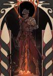 1boy armor art_nouveau dark_souls_iii full_armor glowing helmet highres john_doe lers male_focus no_eyes planted_sword planted_weapon plate_armor solo soul_of_cinder souls_(from_software) spoilers sword tabard weapon