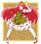 >:3 1girl :3 adapted_costume beret black_bow blue_eyes blush bow braid brown_background clenched_hand expressive_clothes floral_background frilled_skirt frills full_body green_hat green_vest hair_bow hair_ribbon hat hat_bow high_heels highres hong_meiling juliet_sleeves long_hair long_sleeves neck_ribbon open_mouth pants petticoat puffy_sleeves redhead ribbon rie-co shoes skirt solo star star_pin touhou tress_ribbon twin_braids very_long_hair vest white_legwear wide_sleeves wing_collar yellow_bow