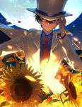 1boy blue_eyes brown_hair cape card flower formal gloves hat highres kaitou_kid kazu_(honoburo) kuroba_kaitou magic_kaito male_focus meitantei_conan monocle moon necktie short_hair suit sunflower top_hat