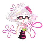 +_+ 1girl artist_name character_doll commentary detached_collar domino_mask earrings fang gloves hikimayu holding_doll hotaru_(splatoon) jewelry looking_down mask navel official_style patrick_star pink_eyes pointy_ears shorts simple_background splatoon spongebob_squarepants starfish tareme tentacle_hair white_background white_gloves white_hair