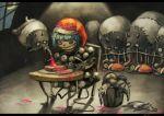 1girl baku_(creature) bread bucket child commentary crescent_moon doremy_sweet dress food fork hat indoors koto_inari moon night night_sky nightcap pom_pom_(clothes) sitting sky sleeping table tapir touhou window