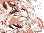 1girl bird comic hat mitsumoto_jouji monochrome mystia_lorelei okamisty solo sparrow touhou translated