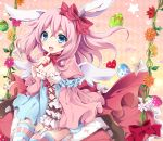1girl angel_wings animal_ears arm_strap blue_dress blue_eyes breasts cleavage commentary dress easter_egg fang finger_to_mouth flower hair_ribbon happy_easter juliet_sleeves long_sleeves looking_at_viewer multicolored_dress open_mouth original pink_dress pink_hair puffy_sleeves rabbit_ears ribbon sitting smile solo striped striped_legwear thigh-highs thighs uguisu_mochi_(ykss35) wariza wide_sleeves wings