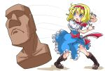 1girl alice_margatroid apron blonde_hair blue_dress blue_eyes capelet doll dress hairband highres moai sash shinapuu short_hair solo touhou waist_apron