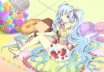 1girl bad_feet blue_eyes blue_hair blueberry bracelet candy chocolate doughnut food food_as_clothes fruit hair_ornament hairclip hatsune_miku headphones high_heels iroha_(shiki) jewelry long_hair macaron nail_polish necklace pillow pocky polka_dot raspberry ring skirt solo strawberry toenail_polish twintails vocaloid wristwear