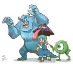 1girl 2boys blue_eyes blue_fur blue_hair blue_skirt blue_vest blush_stickers chamaji commentary_request crossover cyclops fangs geta green_eyes heterochromia horns james_p._sullivan karakasa_obake michael_wazowski monster monsters_inc. multiple_boys one-eyed open_mouth red_eyes roaring short_hair signature simple_background skirt tatara_kogasa teaching tongue tongue_out touhou umbrella white_background