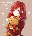 1girl birthday english happy_birthday hat love_live!_school_idol_project nishikino_maki redhead santa_hat short_hair solo stuffed_animal stuffed_toy teddy_bear violet_eyes