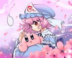 1girl 1other atto_maru blue_eyes blush_stickers cherry_blossoms crossover cute eye_contact hal_laboratory_inc. hat hitodama hoshi_no_kirby human kirby kirby_(series) long_sleeves looking_at_another mob_cap nintendo open_mouth parted_lips petals pink_hair pink_puff_ball profile red_eyes ribbon saigyouji_yuyuko short_hair smile team_shanghai_alice touhou trait_connection triangular_headpiece upper_body veil wide_sleeves