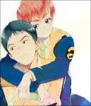 1boy 1girl black_hair blue_eyes brown_eyes brown_hair hug hug_from_behind izumi_noa kidou_keisatsu_patlabor odmk police shinohara_asuma short_hair uniform