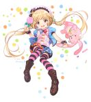 1girl blonde_hair candy futaba_anzu hat idolmaster idolmaster_cinderella_girls idolmaster_cinderella_girls_starlight_stage inzup lollipop long_hair solo striped striped_legwear stuffed_animal stuffed_bunny stuffed_toy thigh-highs twintails